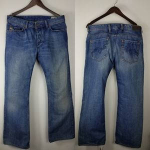 Diesel Zaghor button fly blue jeans size 34x34